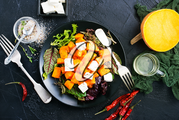 salad with pumpkin carrot and cheese, diet salad