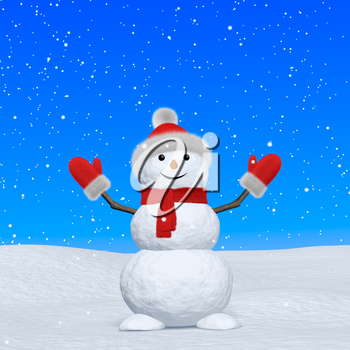Cheerful snowman with red fluffy hat, scarf and mittens on snow looking up under blue sky and snowfall, 3d illustration