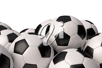 Heap of realistic soccer balls with black and white elements isolated on white background closeup view. Football sport game balls 3D illustration