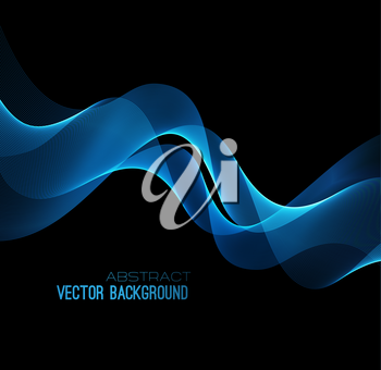 Vector illustration abstract background with blue  blurred magic neon light curved lines