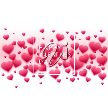 Vector confetti falling from pink blurred  hearts on the white background. Love concept card background for Valentines day