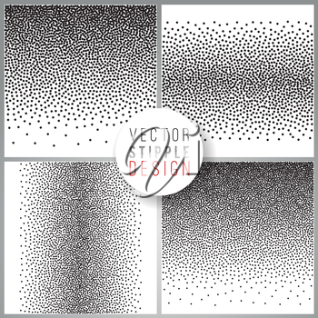 Vector set of black and white halftone background. stipple effect