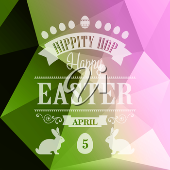 Vector Happy Easter Typographical Poster. Retro design