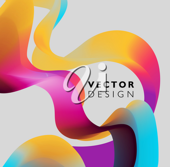 Abstract smooth color wave vector. Curve flow purple motion illustration. For poster, flyer design. Mixing color. Colored fluid