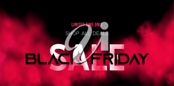 Black friday sale concept on dark background with red smoke. Transparent color mist. fog cloud. For design website, night club poster, advertising flyer