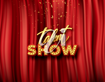 Talent show banner, poster, gold inscription on red curtain with golden confetti. Advertising or invitation, announcement event, vector illustration