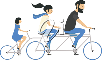 Royalty Free Clipart Image of a Family on a Bike