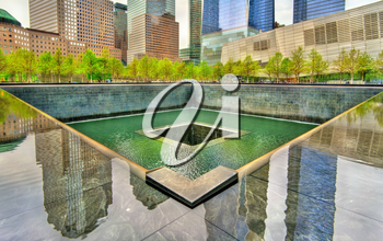New York City, United States - May 5, 2017: National September 11 Memorial commemorating the terrorist attacks on the World Trade Center