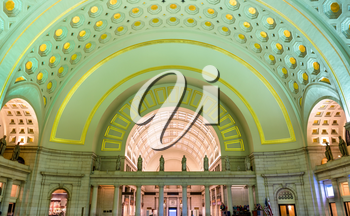 Washington DC, USA - May 6, 2017: Lobby hall at Union Station. It is a busy station with annual ridership of 5 million