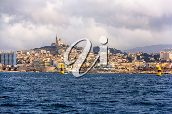 View of Marseille from Mediterranean Sea - France