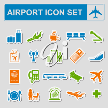 Airport, air travel icon set. Vector illustration