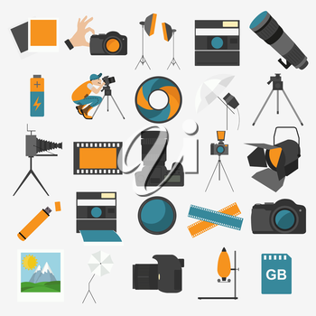 Photography icon set with photo, camera equipment. Colour flat version. Vector illustration