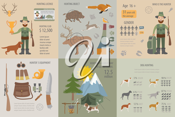 Hunting infographic template. Dog hunting, equipment, statistical data. Flat style