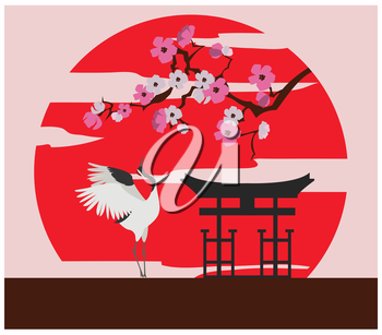 City buildings graphic template. Japanese garden. Vector illustration