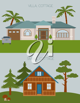 Big set City generator. House constructor. House, cafe, restaurant, shop, boutique. Make your perfect city. Vector illustration