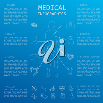 Medical and healthcare infographic, elements for creating infographics. Vector illustration
