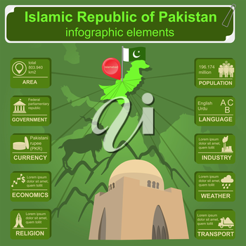 Pakistan  infographics, statistical data, sights. Vector illustration