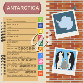 Antarctica (South Pole) infographics, statistical data, sights. Vector illustration