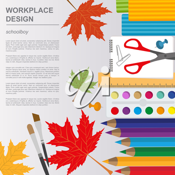 Education graphic template. Schoolboy workplace mock up for creating your own design, infographics, banners. Vector illustration with place for text.