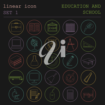 Outline icon set Education and school. Flat linear design. Vector illustration