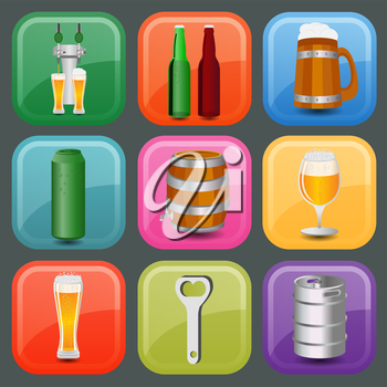 Set icons beer equipment, for creating your own infographics. Vector illustration
