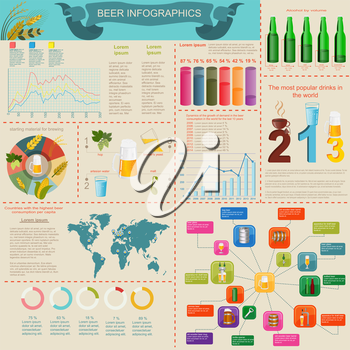 Beer snack  infographics, set elements, for creating your own infographics. Vector illustration