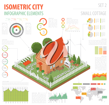 Flat 3d isometric house and city map constructor elements such as building, bbq, garden, nature isolated on white. Build your own infographics collection. Vector illustration
