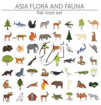 Flat Asian flora and fauna map constructor elements. Animals, birds and sea life isolated on white big set. Build your own geography infographics collection. Vector illustration