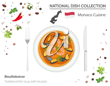 Monaco Cuisine. European national dish collection.  Traditional fish soup with mussels isolated on white, infographic. Vector illustration