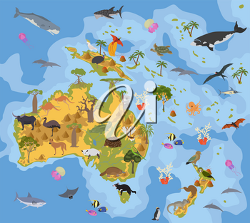 Australia and Oceania flora and fauna map, flat elements. Animals, birds and sea life big set. Build your geography infographics collection. Vector illustration