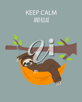 The story of one sloth. Traveling, holiday. Funny cartoon sloths in different postures set. Vector illustration