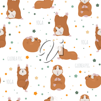 Guinea pig yoga poses and exercises. Cute cartoon seamless pattern. Vector illustration