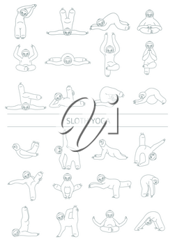 Sloth yoga collection. Funny cartoon animals in different postures set. Thin line design. Vector illustration