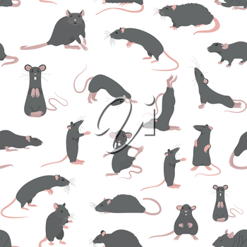 Rats seamless pattern. Rat poses and exercises. Cute cartoon clipart set. Vector illustration