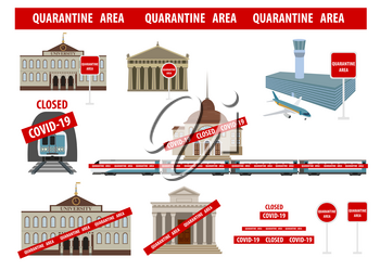 Quarantine area, stop coronavirus epidemic design concept. Airport, public places closed. Vector illustration