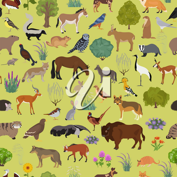 Temperate and dry steppe biome, natural region seamless pattern. Prarie, steppe, grassland, pampas. Terrestrial ecosystem world map. Animals, birds and vegetations ecosystem design set. Vector illustration