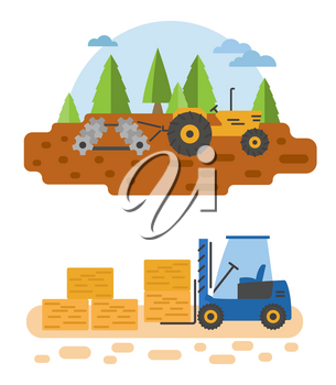 Agricultural machinery vector icon set isolated on white scene. Farming, harvesting, gardening. Illustration vector design