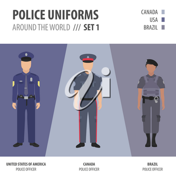 Police uniforms around the world. Suit, clothing of american police officers vector illustrations set