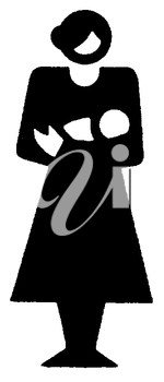 Royalty Free Clipart Image of a Woman With a Baby