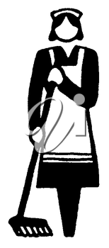 Royalty Free Clipart Image of a Housekeeper
