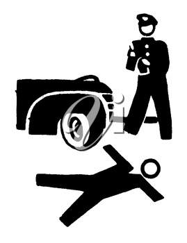 Royalty Free Clipart Image of an Fatal Crash