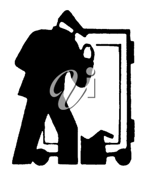 Royalty Free Clipart Image of a Man Breaking Into a Safe