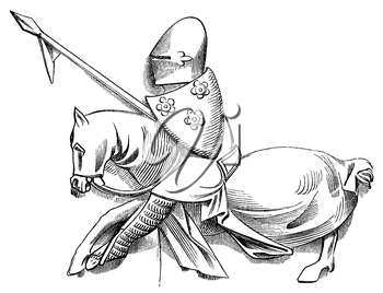 Royalty Free Clipart Image of a Jousting Knight