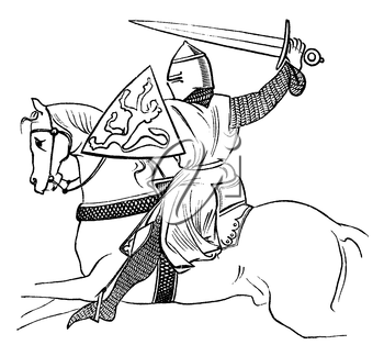 Royalty Free Clipart Image of a Knight Charging on his Horse