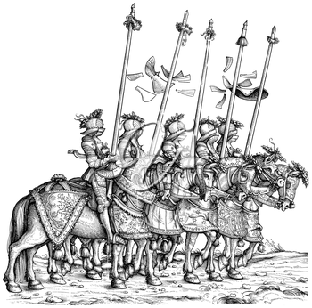 Royalty Free Clipart Image of Knights Going into Battle