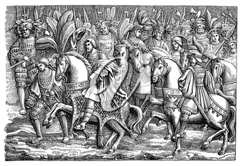 Royalty Free Clipart Image of a Medieval Battle