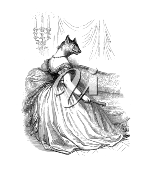 Royalty Free Clipart Image of an Animal in a Ballgown