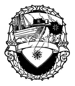 Royalty Free Clipart Image of a Ship Badge