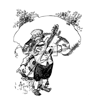 Royalty Free Clipart Image of a Leprechaun Like Man with a Guitar and a Banner