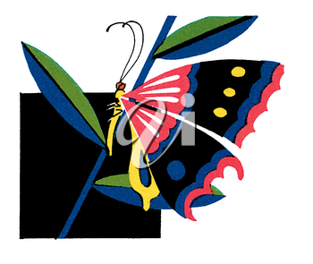 Royalty Free Clipart Image of a Butterfly on a Plant
